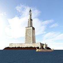 """THE LIGHTHOUSE OF ALEXANDRIA: This functional wonder of the world lies on an the ancient island of Pharos, now near the city of Alexandria, Egypt. . Upon completion the monument was dedicated to the """"Savior Gods: Ptolemy Soter"""" and his wife Berenice. This lighthouse stood fully for centuries and was used to mark the harbor. In 956 AD and earthquake hit Alexandria and did damange to the lighthouse.."""