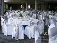 White chair covers with silver sashes used at Mandy and Ray's Wedding in chapter 13