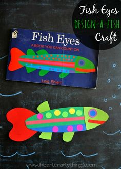 Design your own Fish Craft after reading the book Fish Eyes. | Kids will love using their creativity to make a unique fish with colored cardstock paper and round colored stickers. | from iheartcraftythings.com