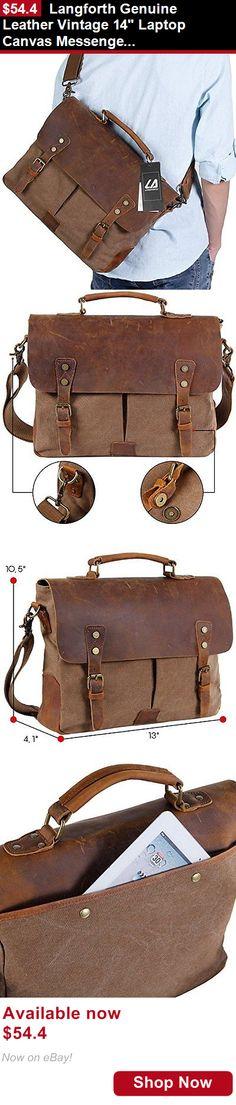 Men accessories: Langforth Genuine Leather Vintage 14 Laptop Canvas Messenger Satchel Bag Cof... BUY IT NOW ONLY: $54.4