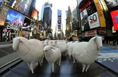"""Counting Sheep"" by Brooklyn Artist Kyu Seok Oh are unveiled in Times Square March 1, 2011"