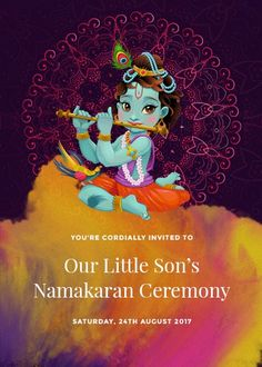 Lord Krishna is pictured here with his trusty flute, playing divine tunes that will make the name of your baby boy music to many ears in his prospective future. Indian Invitations, Custom Invitations, Invites, Bal Krishna, Boy Music, Flute, Christmas Ornaments, Holiday Decor, Floral