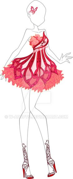 Costume Anime Butterflix Adoptable 02 - Closed by W-adopts. Dress Drawing, Drawing Clothes, Fashion Design Drawings, Fashion Sketches, Anime Outfits, Mode Outfits, Butterfly Dress, Red Butterfly, Anime Dress