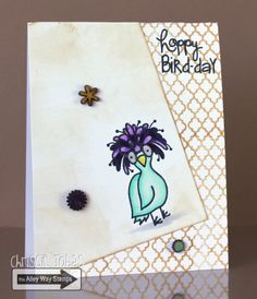 Chrissie Tobas (Harvest Moon Papiere): The Alley Way Stamps March Release Blog Hop, Birds of a Feather, BItty Borders, Speak Easy, The Alley Way Stamps, TAWS, cards, clear stamps