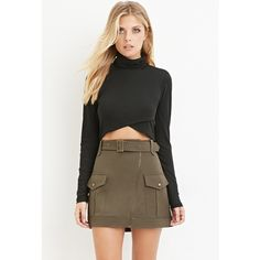 Love 21 Women's  Contemporary Belted Mini Skirt ($23) ❤ liked on Polyvore featuring skirts, mini skirts, belted skirt, short skirts, mini skirt, asymmetrical mini skirt and pocket skirt