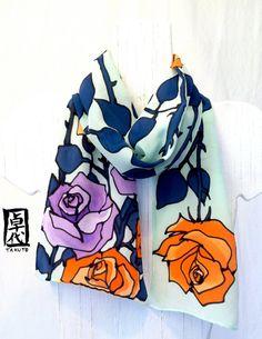 Hand painted silk scarf. Orange Purple Roses by SilkScarvesTakuyo, $80.00