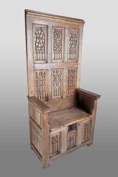 Gothic high backed bench, circa 1480 - 1500, Marhamchurch antiques