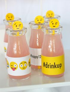 Drinks from Instagram Emoji Themed Teen Birthday Party form Kara's Party Ideas. See more at karaspartyideas.com!