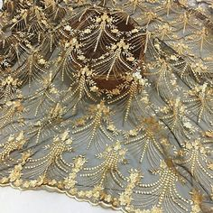 """Gold Lace Fabric, champagne bridal lace, Gold Floral Embroidery on Black mesh, wide lace, """"Gold Fabric by the yard Gold Lace Fabric, Embroidered Lace Fabric, Embroidery Fabric, Floral Embroidery, Embroidery Designs, Bridal Lace, Wedding Lace, Wedding Dress, Dress Prom"""