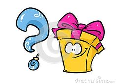 Cheerful gift question cartoon illustration isolated image