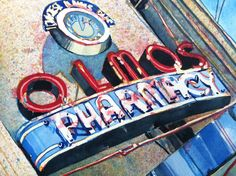 Original watercolor Olmos Pharmacy San Antonio Texas by Cynthia Reid