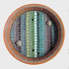 Linear Heather Mosaic Garden Bird Bath - Folksy