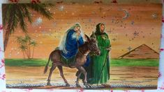 Vintage Silver Embossed Christmas Greeting Card Holy Family's Journey ~ Pyramid