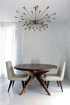 Contemporary dining round dark wood table pendant light