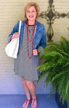 50 is not old swing dress denim jacket stripes labor day fashion over 40 fo Womens Fashion Casual Summer, Over 50 Womens Fashion, Black Women Fashion, 50 Fashion, Fashion Over 40, Look Fashion, Women's Fashion Dresses, Fashion Ideas, Spring Fashion