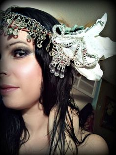 Ice Queen  Deluxe Performance Costume Headdress by thegypsykiss, $142.00    #headdress #tribal fusion #bellydance #fairy