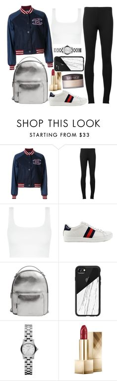 """""""Untitled #1577"""" by mihai-theodora ❤ liked on Polyvore featuring Chanel, Puma, Gucci, MANGO, Casetify, Marc by Marc Jacobs, Burberry and Laura Mercier"""