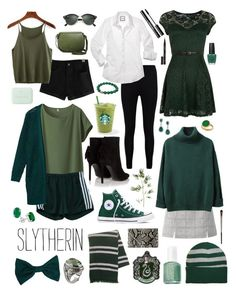 Slytherin! by forevercrazyfashiondivas on Polyvore featuring мода, Mela Loves London, Uniqlo, Boohoo, Yves Saint Laurent, Converse, Angela Roi, Hunting Season, Konstantino and American Apparel