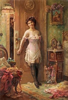 Hans Zatzka The Amorous Visitor print for sale. Shop for Hans Zatzka The Amorous Visitor painting and frame at discount price, ships in 24 hours. Romantic Paintings, Classic Paintings, Old Paintings, Beautiful Paintings, Victorian Paintings, Victorian Art, Victorian Women, Victorian Corset, Classical Art