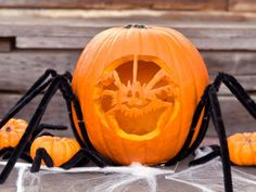 Creepy crawlers and spiders are notable characters during Halloween festivities, so it only makes sense to create a friendly arachnid jack-o'-lantern. Extra-long black pipe cleaners pinned to the pumpkin create the look of fuzzy spider legs. Pumpkin Carving Tips, Pumpkin Art, Pumpkin Faces, Pumpkin Ideas, Spider Pumpkin, Pumpkin Carvings, Halloween Pumpkin Designs, Halloween Jack, Halloween Pumpkins