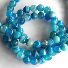 Blue Agate Beads 8mm