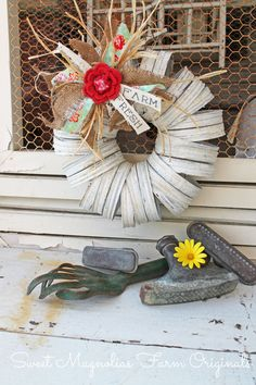 """New for Spring 2014"" Creamy White Canning Jar Lids Wreath ~ ""One of a Kind"" Farmhouse Charm by SweetMagnoliasFarm, SOLD To a Good Home !"