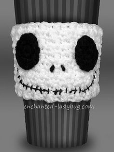 It's the Pumpkin King, Jack Skellington as a coffee cup cozy! Cute Halloween accessory for your coffee cup! Fun and quick crochet pattern, you'll have plenty of time to make one for this Halloween!
