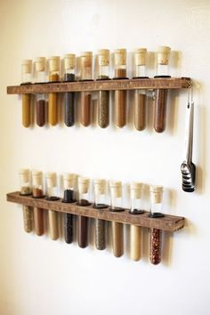 Enjoy cooking even more by turning your kitchen into a lab with this DIY test tube spice rack! Test tube spice racks can Test Tube Spice Rack, Diy Spice Rack, Spice Storage, Storage Rack, Food Storage, Storage Containers, Upcycled Spice Rack, Hanging Spice Rack, Kitchen Organization