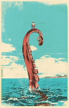 Pawel - Fishing with octopus, 2009 The original drawings were made with pencil. Archive retro look because it adds to the melancholic mood of the illustration. Psychedelic Art, Art Inspo, Art Du Collage, Japon Illustration, Octopus Illustration, Octopus Sketch, Owl Sketch, Octopus Drawing, Portrait Illustration