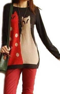 Amazon.co.jp: FrontStage ファッションショップ・カップル猫・薄ニットチュニック: 服&ファッション小物通販