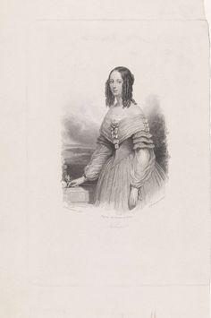 Johann Wilhelm Kaiser (I) | Portret van Klara, Johann Wilhelm Kaiser (I), Johan Noman & Zoon, 1823 - 1900 | Portret van Klara, ten halven lijve naar links, met pijpenkrullen.  Op de achtergrond een landschap en wolken.