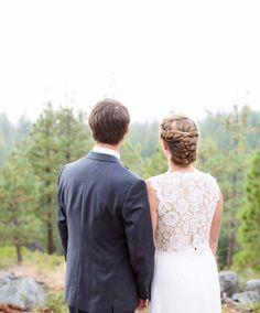 Lace, illusion wedding dress idea - sheath wedding dress with illusion, lace back {WebLens Designs Photography}