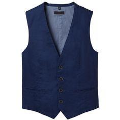 UNIQLO Men Cotton Linen Vest ($13) ❤ liked on Polyvore featuring mens, men's clothing, men's outerwear, men's vests, vest, men and mens vests