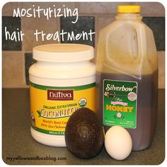 Moisturizing Hair Treatment: 2 Tbs of coconut oil, 1 egg, 1/2 avocado, 1/4 cup honey. --- Melt coconut oil, Mix in the egg, add in the warmed honey and squeeze in 1/2 avocado --- Cover hair, Leave in for atleast 30 min