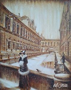 Saint Petersburg by Nadezhda Nikitina_Никитина Надежда. Встреча у зимней канавки