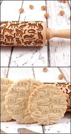 Here's the perfect rolling pin for cat lovers out there!   Know someone who loves baking as well as cats? This laser-engraved rolling pin will make a great gift idea.   Or if you're the baker, you can use this as a tool to make cookies for cat lover friends and families! Make fancy cookies with cat shapes engraved on it!  A doggie version is available for dog persons too!: