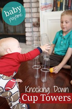 Toddler Approved!: Knocking Down Cup Towers {Baby Playtime}