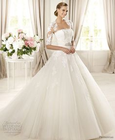 Domingo Strapless Ball Gown With Short Sleeve Illusion Lace Coverup ...  beautiful