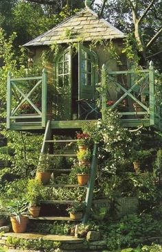 Garden shed tree house. I would be sooo tempted to put up a KEEP OUT sign, and that kinda defeats the purpose....
