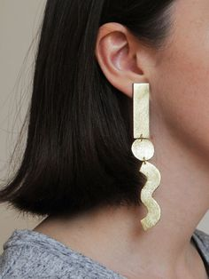 Handmade long geo shapes & squiggle earrings by BenuShop on Etsy