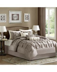Grey bedroom. Would like this in a subtle purple......