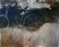 Bernie Fuchs, Young boy crouched behind shrub, bicycle in foreground, oil on board