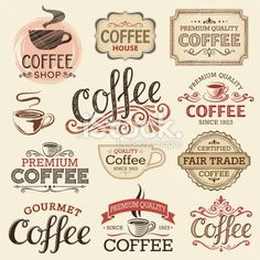 Hand Drawn Vintage Coffee Labels Royalty Free Stock Vector Art Illustration:
