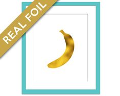 Banana Print - Gold Foil Print - Food Poster - Foil Kitchen Wall Art - Gold Food Art - Kitchen Art Print - Gift for Chef - Banana Poster