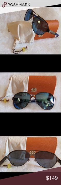 NWT Tory Burch Sunnies Ty6044  Copper Blue Flash 312155   Time for some new fabulous authentic designer shades!!  Pilot Aviator Style Glasses  Frame: Metal Matte Copper with cobalt blue blocking  Lens: Dark Blue Flash  These are PERFECT Flawless NEVER even worn or tried on. It's just reflections that might make they look like there are issues, they are again Perfect!  Comes with original bag with tags from Luxottica, case and dust bag.  All of my items are Guaranteed 100% Genuine I do not…