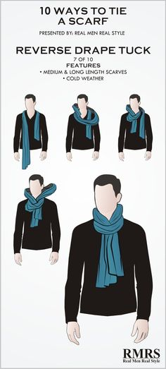 How to wear a scarf men neck scarves for 2019 Ways To Tie Scarves, Ways To Wear A Scarf, How To Wear Scarves, Wearing Scarves, Scarf Knots, Diy Scarf, Mens Scarf Fashion, Mens Scarf Style, Fashion Scarves