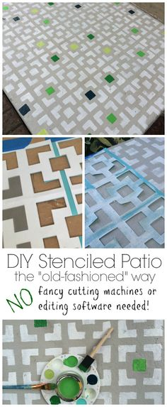 DIY stencil for a front patio, without any fancy tools!
