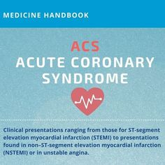 #Clinical presentations ranging from those for #STEMI to presentations found in #NSTEMI or in unstable #angina. https://medicine-handbook.com/blog/acs/ #info #acs #coronary #cardiology #infographics #infographic #medicine #med #medic #cardio #heart #cardiologist