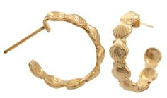 14k Gold Scallop Shell Hoops