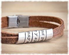 *  Youll be in his good books when you gift him this handsome, unique and very personal bracelet with your own special message!    It features an